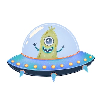 Illustration of a cute cartoon alien in spaceship. cute monster isolated on white  . ufo.
