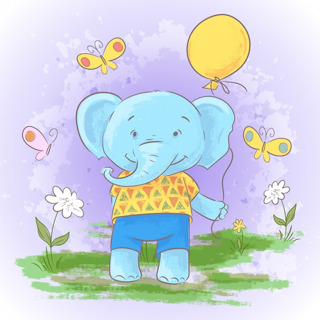 Illustration of cute cartoon baby elephant with a balloon.