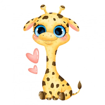 Illustration of a cute cartoon baby giraffe with big eyes and hearts isolated