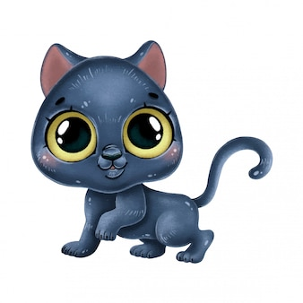 Illustration of a cute cartoon baby panther isolated  .