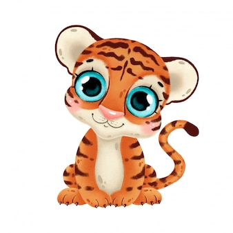 Illustration of a cute cartoon baby tiger isolated