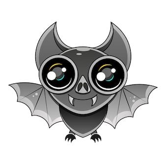 Illustration of cute cartoon bat flying