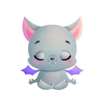 Illustration of a cute cartoon bat meditating. halloween yoga