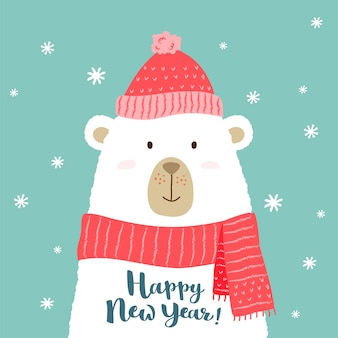 Illustration of cute cartoon bear in warm hat and scarf with hand written happy new year greeting.