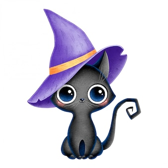 Illustration of cute cartoon black witch cat with purple wizard hat