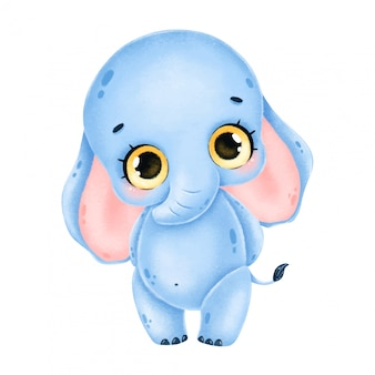 Illustration of a cute cartoon blue elephant with big eyes stands isolated