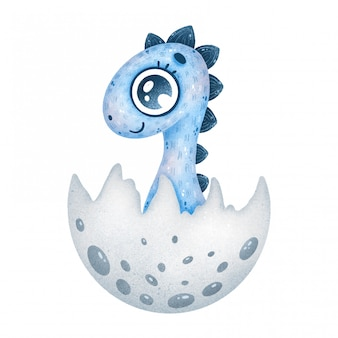 Illustration of cute cartoon blue newborn baby dinosaur in egg
