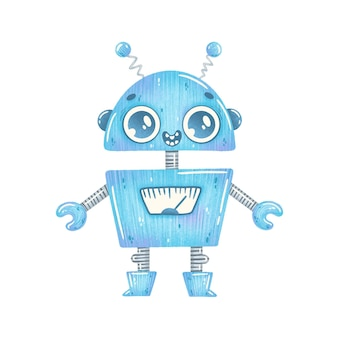 Illustration of cute cartoon blue robot isolated on white