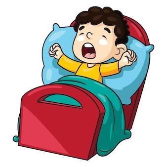 Illustration of cute cartoon children wake up