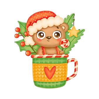 Illustration of cute cartoon christmas bear wearing red hat with lollipop in a tea mug