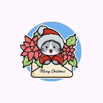 Illustration of cute cartoon christmas cat in a greeting card