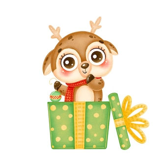 Illustration of a cute cartoon christmas deer holding a christmas tree toy in a green gift box