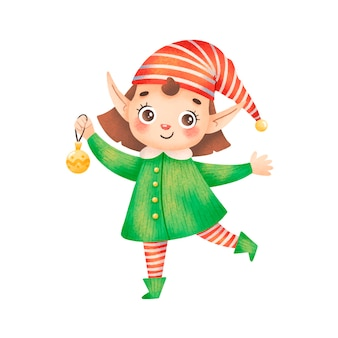 Illustration of a cute cartoon christmas elf girl isolated on white background. santa claus helper