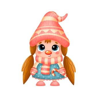 Illustration of a cute cartoon christmas gnome girl