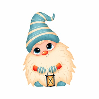 Illustration of a cute cartoon christmas gnome