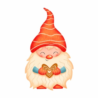 Illustration of a cute cartoon christmas gnome