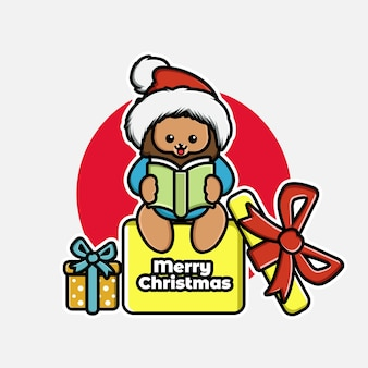 Illustration of cute cartoon christmas lion reading book in gift box