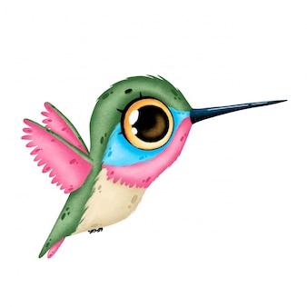 Illustration of a cute cartoon flying hummingbird isolated
