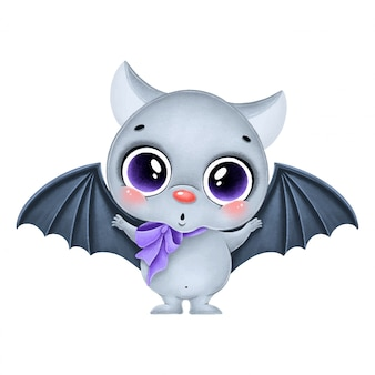 Illustration of a cute cartoon gray bat with a purple bow. halloween bat isolated