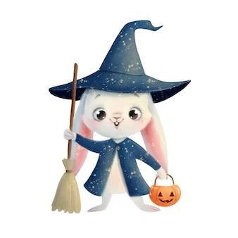 Illustration of a cute cartoon halloween bunny in a wizard costume halloween animals