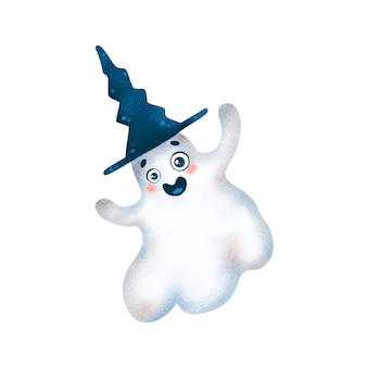 Illustration of cute cartoon halloween ghost in witch hat isolated on white background