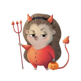 Illustration of a cute cartoon halloween hedgehog wearing a devil costume halloween animals