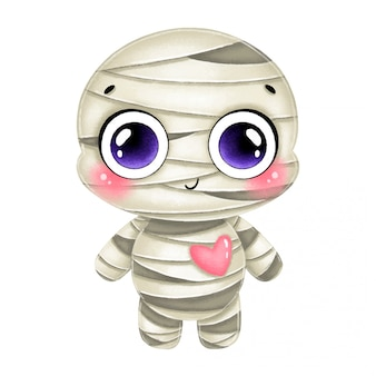 Illustration of a cute cartoon halloween mummy with a pink heart isolated