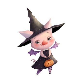 Illustration of a cute cartoon halloween pig in a bat witch costume halloween animals