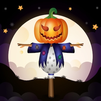 Illustration of a cute cartoon halloween scarecrow stand on ground front the moon