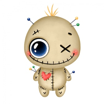 Illustration of a cute cartoon halloween smiling brown voodoo doll with a red heart and needles isolated