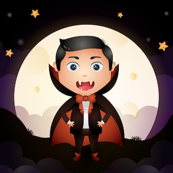 Illustration of a cute cartoon halloween young dracula stand on ground front the moon