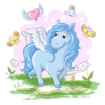 Illustration of a cute cartoon horse pegasus