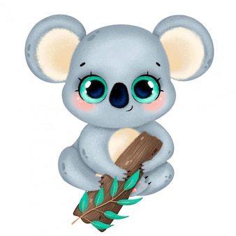 Illustration of a cute cartoon koala with big eyes sitting on a tree isolated