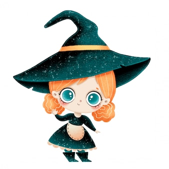 Illustration of cute cartoon little witch with red hair