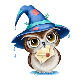 Illustration of cute cartoon magic brown owl with wizard hat and letter in beak