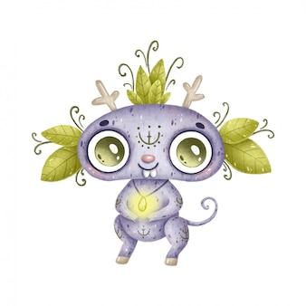 Illustration of a cute cartoon magic forest animal. purple fantastic monster with leaves, horns and folk ornament on a white background.