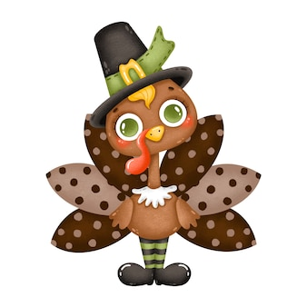 Illustration of a cute cartoon male turkey wearing a pilgrim hat isolated