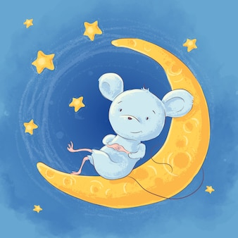 Illustration of a cute cartoon mouse on the moon night sky and stars