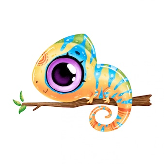 Illustration of a cute cartoon multi-colored chameleon isolated