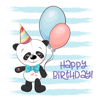 Illustration of a cute cartoon panda with balloons