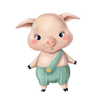 Illustration of a cute cartoon pig in green pants isolated