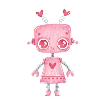 Illustration of cute cartoon pink robot girl isolated on white