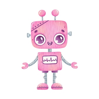 Illustration of cute cartoon pink robot isolated