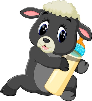 Illustration of cute cartoon sheep holding milk bottle
