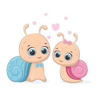Illustration of cute cartoon snail. boy and girl.