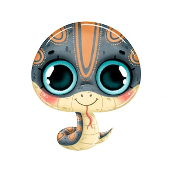 Illustration of a cute cartoon snake with big eyes isolated  .