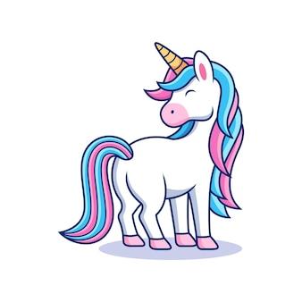 Illustration of cute cartoon unicorn