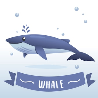 Illustration of cute cartoon whale. part of the collection of marine life, illustration for children