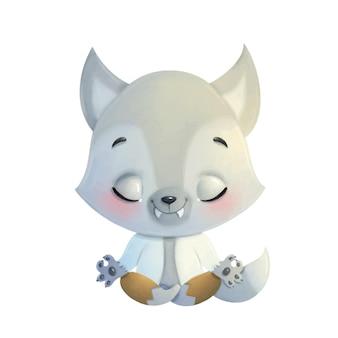 Illustration of a cute cartoon wolf werewolf meditation. halloween yoga