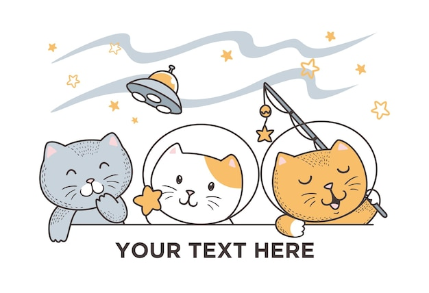Illustration cute cat space